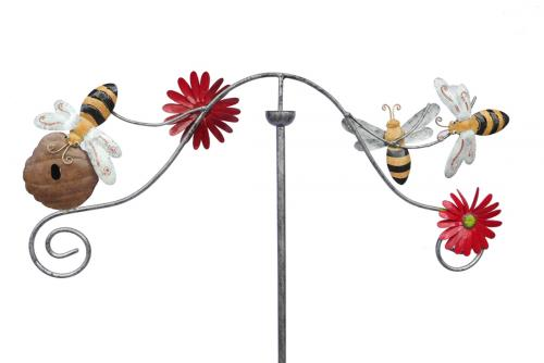 Metal Garden Wind Vane Spinner - Bee Hive