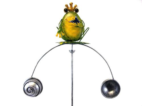 Metal Garden Wind Vane Spinner - Large Crown Frog Design