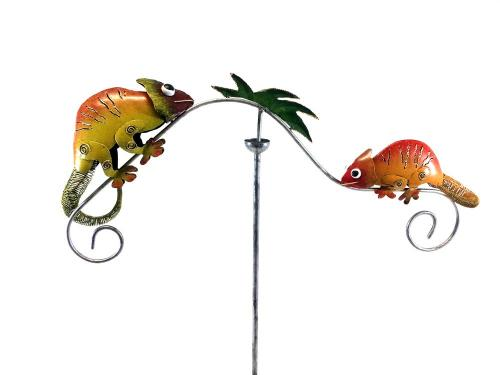Metal Garden Wind Vane Spinner - Gecko Lizard Design