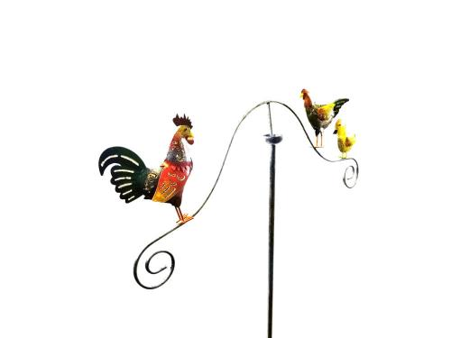Metal Garden Wind Vane Spinner - Rooster Family Design