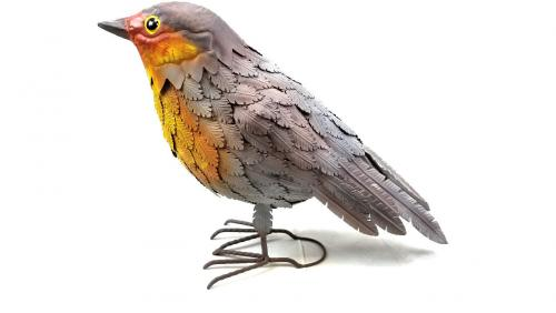 Metal Robin Bird Garden Ornament
