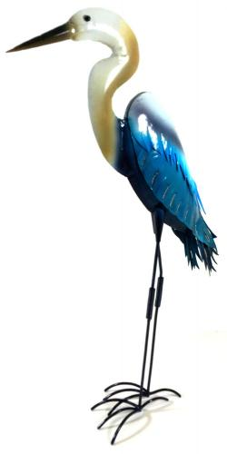 Metal Sculpture Home or Garden Ornament - Blue and White Egret