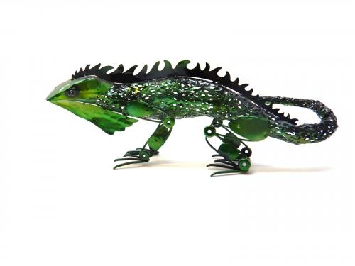 Metal Sculpture - Green Lizard Ornament