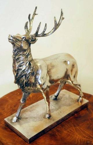 Resin Sculpture - Silver Stag / Deer Ornament