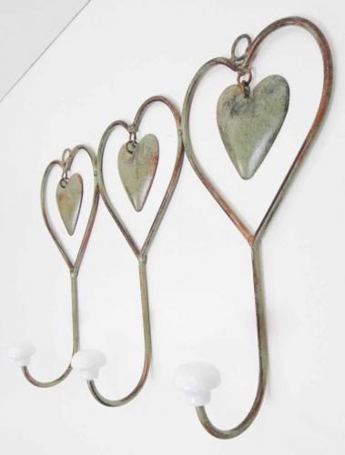 metal triple shabby chic heart coat hook. Black Bedroom Furniture Sets. Home Design Ideas