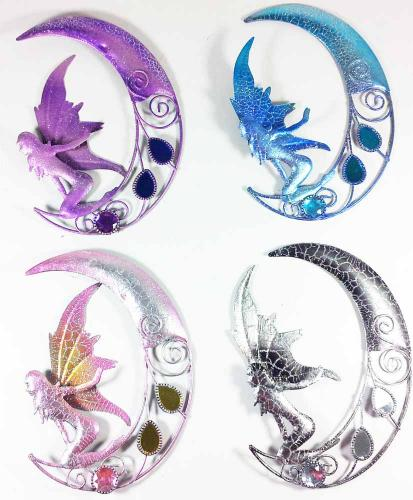 Metal Wall Art - 4 Small Sparkle Glitter Fairy Moons