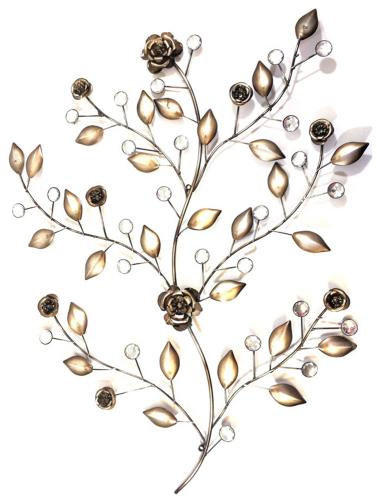 Metal Wall Art - Antique Silver Bronze Rose Branch