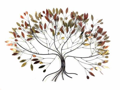 Metal Wall Art - Large Metallic Autumn Leaves Tree