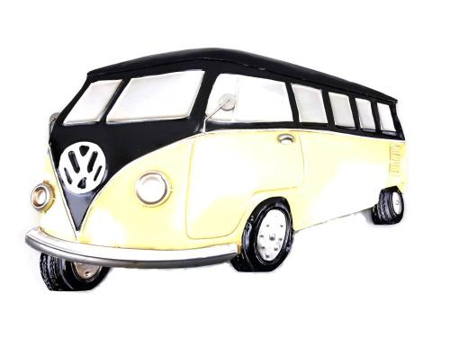Metal Wall Art - Black and Cream VW Campervan