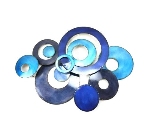 Metal Wall Art - Blue Linked Circle Disc Abstract