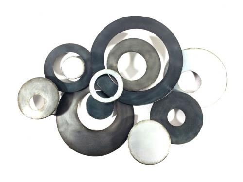 Metal Wall Art - Charcoal Linked Circle Disc Abstract
