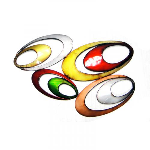 Metal Wall Art - Coloured Oval Abstract