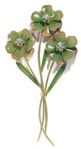 Metal Wall Art - Green Flower Trio