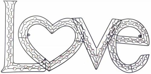 Metal Wall Art - Jewel Heart Love Sign