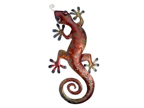 Metal Wall Art - Large Multicolour Gecko Wall Decor