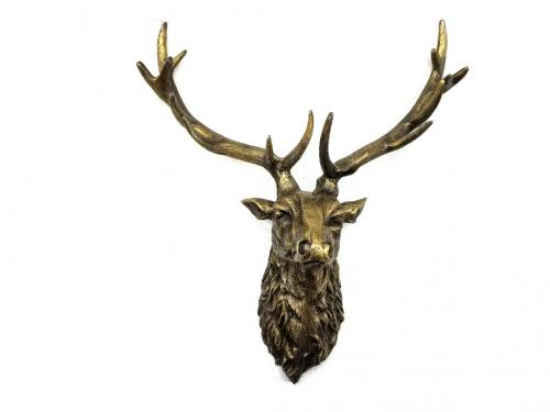 Metal Wall Art - Large Ruffle Stags Head - Bronze