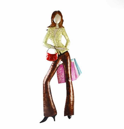 Metal Wall Art - Posing Shopping Lady With Bags