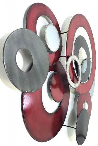 Metal Wall Art Red Linked Circle Disc Abstract