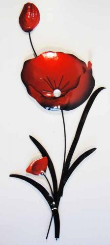 Metal Wall Art - Red Poppy Flower Bunch