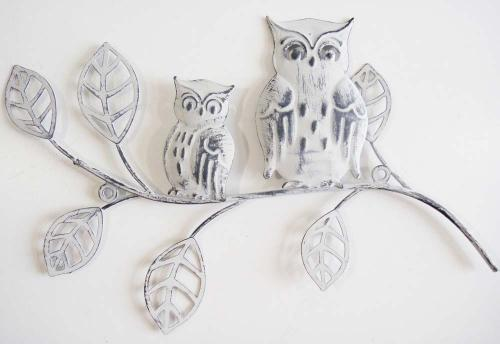 Metal Wall Art - Shabby Chic Wise Owls