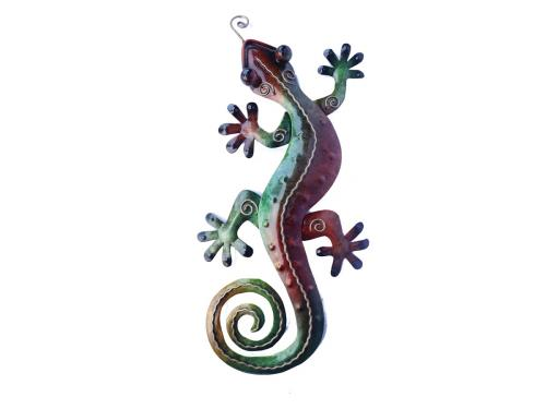 Metal Wall Art - Small Green Multicolour Gecko Wall Decor