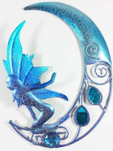 Metal Wall Art - Small Sparkle Glitter Fairy Moon Blue