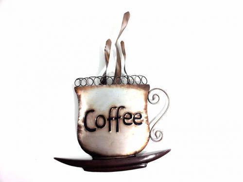 Coffee Metal Wall Art wall art - steaming coffee cup