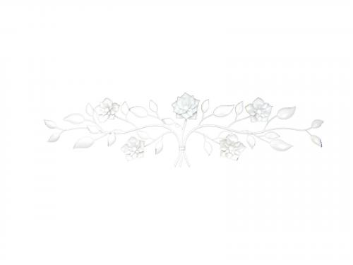 Metal Wall Art - White Flower Scroll