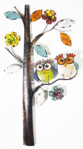 Metal Wall Art - Wise Owl Tree
