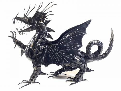 Metal Welsh Dragon Statue