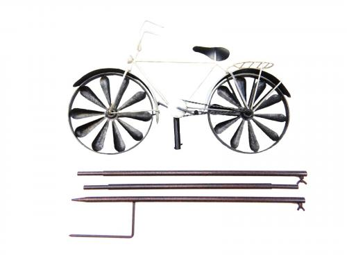 Metal Wind Spinner Garden Stake - Shabby Chic White Bicycle