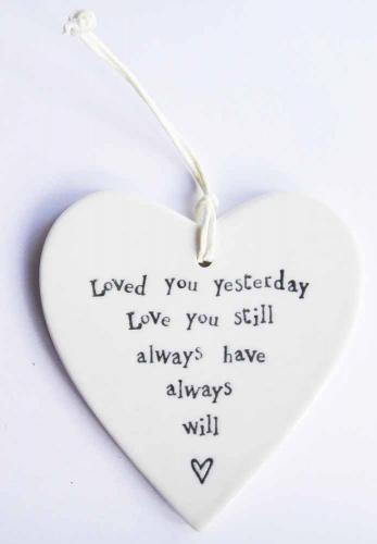 Porcelain Round Heart - East Of India Loved You Yesterday