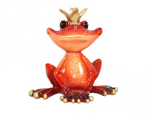 Red Frog With Crown Figurine