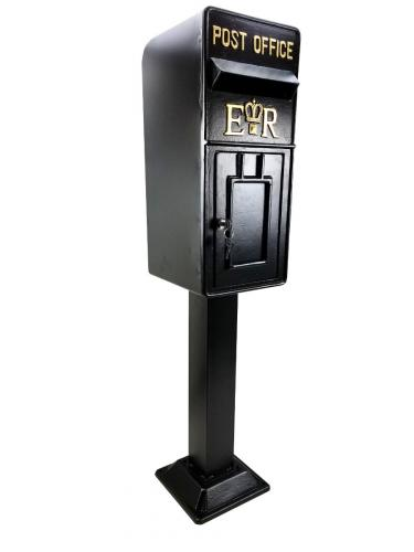 Replica Royal Mail ER Post Box Or Letter Box With Stand - Black