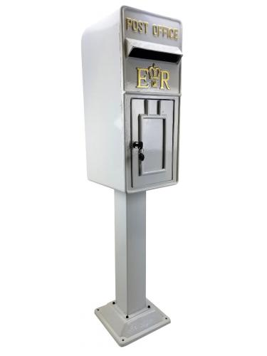 Replica Royal Mail ER Post Box Or Letter Box With Stand - White