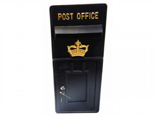 Replica Wall Mounted Royal Mail Crown Emblem Post Box Or Letter Box - Black