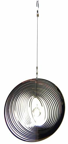 Large Round Stainless Steel Wind Spinner With Crystal