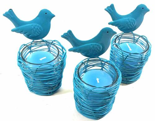 Set Of 3 Blue Bird Nest Candle Holders