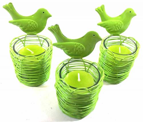 Set Of 3 Green Bird Nest Candle Holders