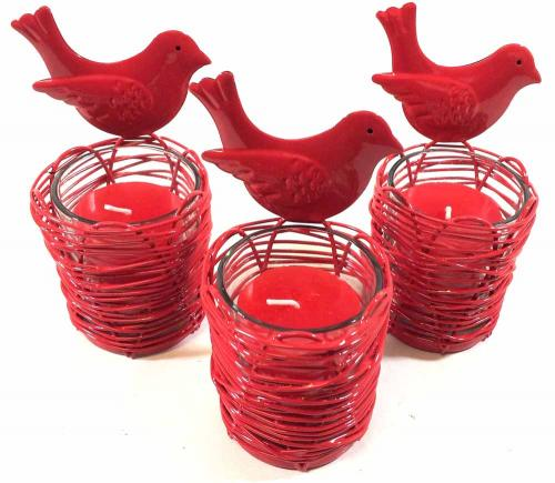 Set Of 3 Red Bird Nest Candle Holders