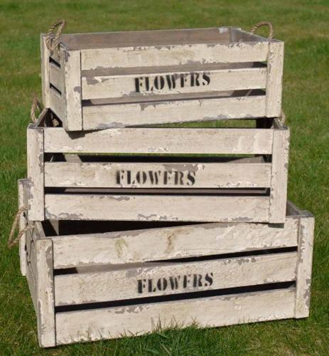Set Of 3 Wooden Storage Crates - Flowers