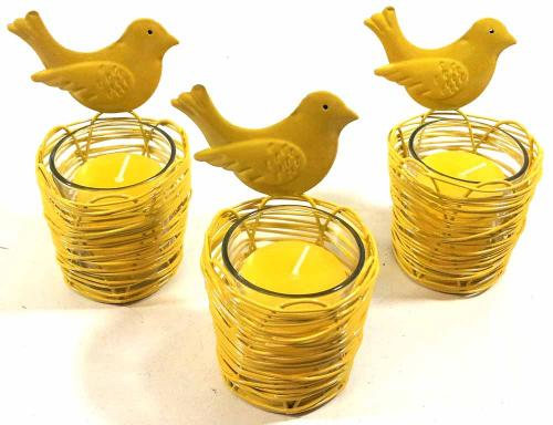 Set Of 3 Yellow Bird Nest Candle Holders