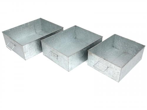 Set of 3 Industrial Stacking Bins or Planters