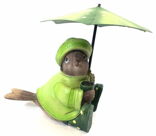 Sitting Bird With Umbrella Figurine