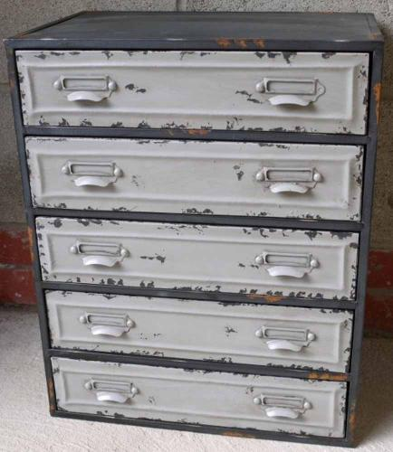 Small Industrial Metal Cabinet 5 Drawers