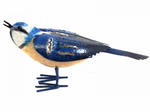 Small Metal Bird Ornament - Blue Tit