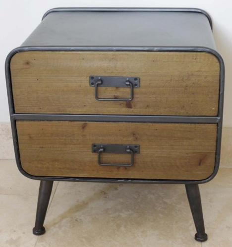Small Vintage Industrial 2 Drawer Cabinet