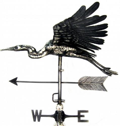 Stainless Steel Garden Weathervane - Flying Heron Design