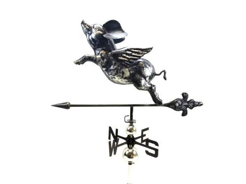 Stainless Steel Garden Weathervane - Flying Pig Design