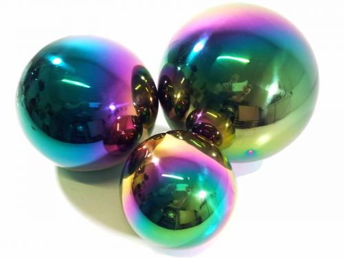 Stainless Steel Set of 3 Gazing Balls in Rainbow Finish
